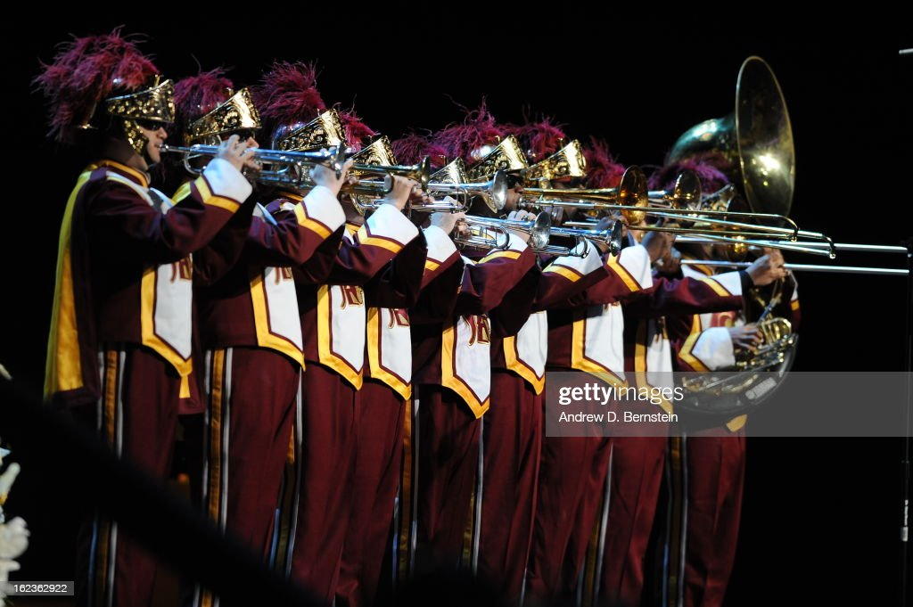 Members of the University of Southern California band preform during the memorial service for Los Angeles Lakers Owner Dr. Jerry Buss at Nokia Theatre LA LIVE on February 21, 2013 in Los Angeles, California.