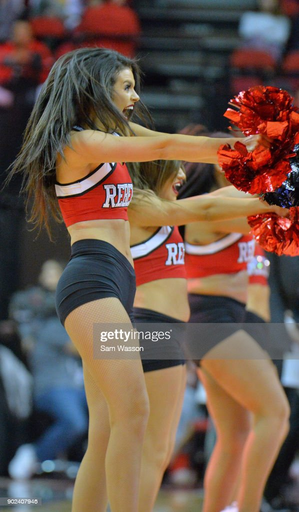 Members of the UNLV Rebels pom squad perform during the team's game against the Utah State Aggies at the Thomas & Mack Center on January 6, 2018 in Las Vegas, Nevada. Utah State won 85-78.