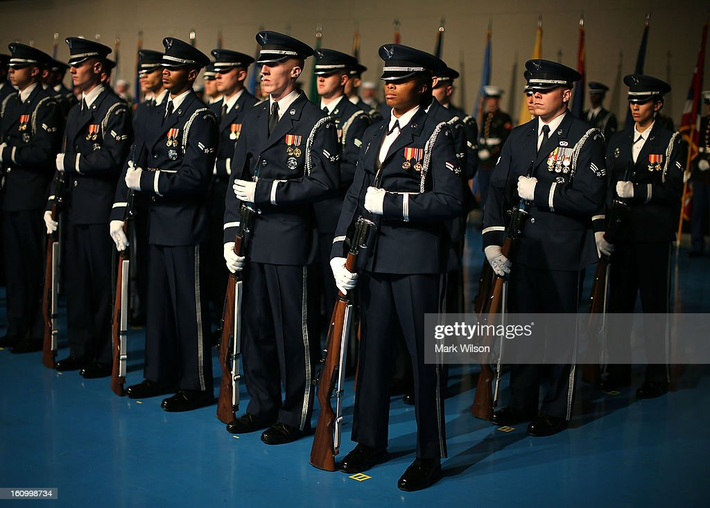 Members of the U.S. Air Force honor guard participate in a armed services farewell ceremony for Defense Secretary Leon Panetta at Joint Base Ft. Myer on February 8, 2013 in Arlington, Virginia. If confirmed by the U.S. Senate, former U.S. Sen. Chuck Hagel (R-NE) will replace Panetta.