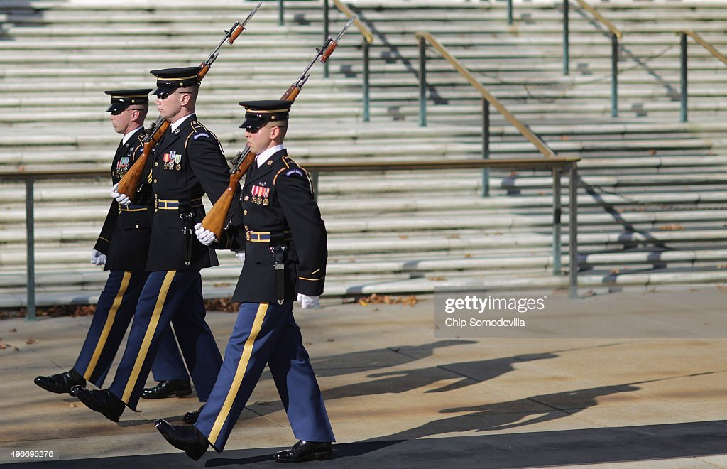 Members of the US Army 3rd Infantry Regiment perform the changing of the guard ahead of a full honor wreathlaying ceremony at the Tomb of the Unknown...