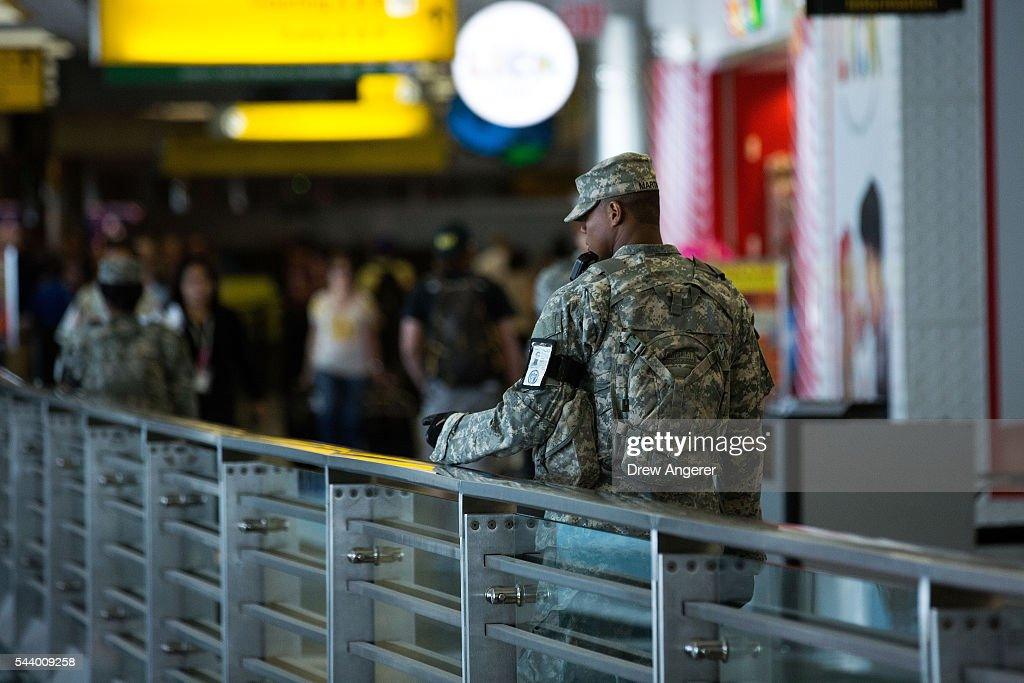 Members of the U.S. Army patrols along a concourse in the departures area at LaGuardia Airport (LGA), June 30, 2016 in the Queens borough of New York City. Following Tuesday's terrorist attacks at Instanbul's Ataturk Airport, the Transportation Security Administration and other law enforcement agencies have increased security at major airports in the United States.
