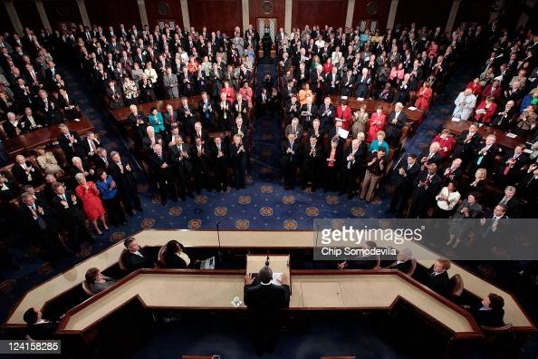 Members of the US Congress applaud as US President Barack Obama addresses a Joint Session at the US Capitol September 8 2011 in Washington DC Obama...