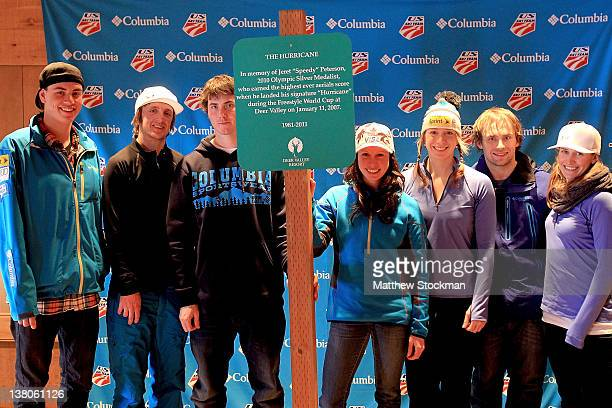 Members of the US Freestyle team Dylan Ferguson Scotty Bahrke Jeremy Cota Emily Cook Hannah Kearney Patrick Deneen and Heather McPhie pose with a...