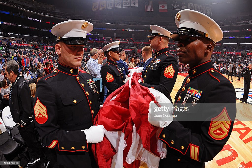 Members of the U.S. Marines are seen before the game between the Detroit Pistons and the LA Clippers on November 7, 2016 at the STAPLES Center in Los Angeles, California.