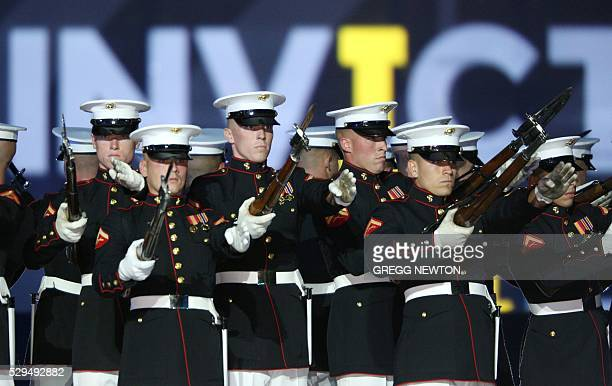 Members of the US Marines Silent Drill Platoon perform during opening ceremonies for the 2016 Invictus Games in Orlando Florida May 8 2016 The...