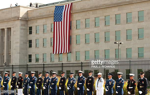 Members of the US Military Honor Guard line up at the 9/11 Memorial on September 11 2011 during remembrance ceremonies at the Pentagon AFP Photo/Paul...