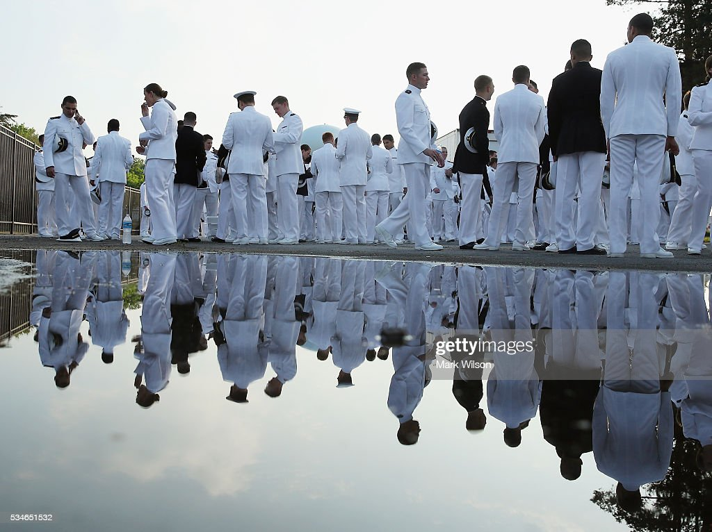 Members of the U.S. Naval Academy's class of 2016 gather for graduation ceremonies at the U.S. Naval Academy May 27, 2016 in Annapolis, Maryland. US Secretary of Defense Ashton Carter is this year's commencement speaker.