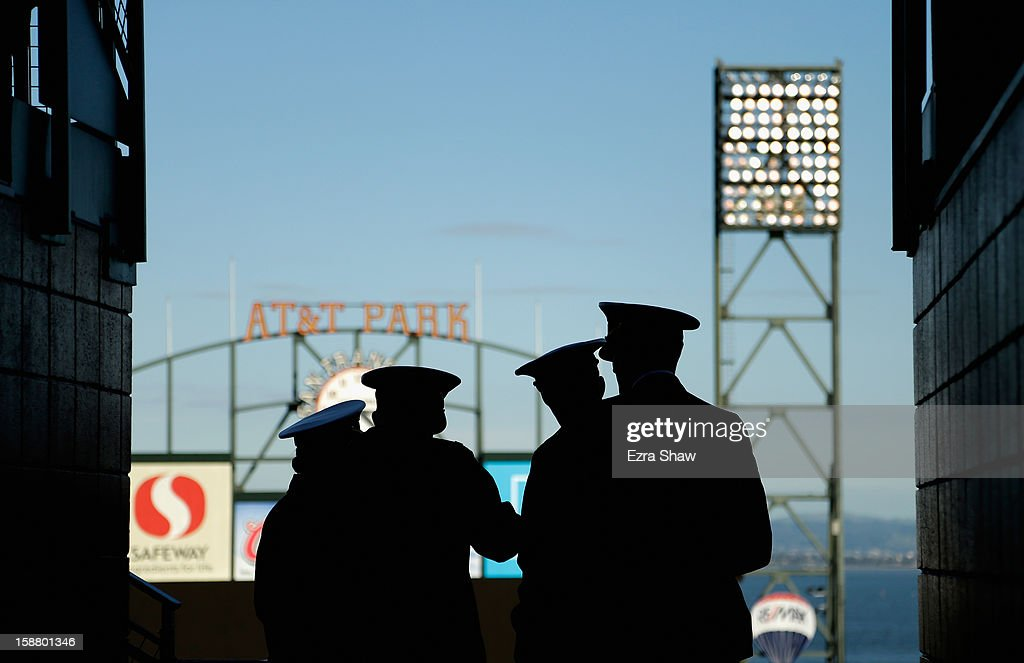 Members of the US Navy stand in the upper deck and watch the Kraft Fight Hunger Bowl between the Navy Midshipmen and the Arizona State Sun Devils at AT&T Park on December 29, 2012 in San Francisco, California.