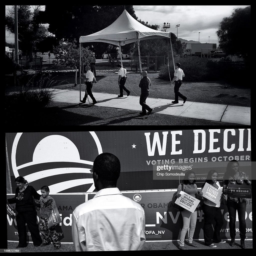 Members of the U.S. Secret Service Uniform Division carry a tent while setting up a screening area before an Obama campaign rally November 1, 2012 in North Las Vegas, Nevada.