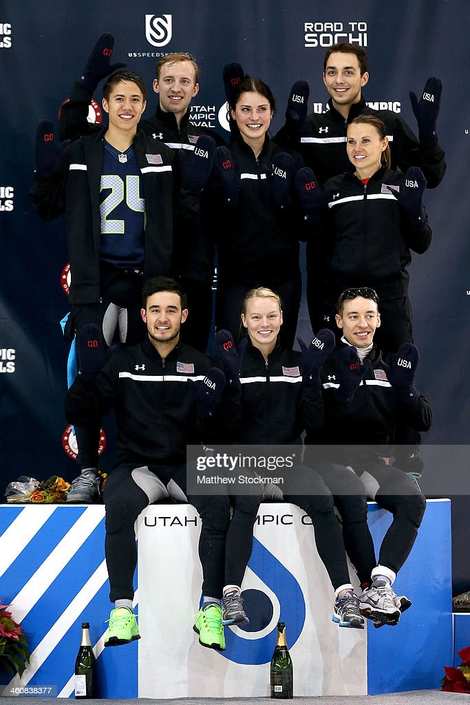 Members of the U.S. Short Track team pose on the medals podium (front row l-r) Eduardo Alvarez, <a gi-track='captionPersonalityLinkClicked' href=/galleries/search?phrase=Emily+Scott+-+Speed+Skater&family=editorial&specificpeople=15291931 ng-click='$event.stopPropagation()'>Emily Scott</a>, <a gi-track='captionPersonalityLinkClicked' href=/galleries/search?phrase=Jordan+Malone&family=editorial&specificpeople=2118197 ng-click='$event.stopPropagation()'>Jordan Malone</a> (back row l-r) <a gi-track='captionPersonalityLinkClicked' href=/galleries/search?phrase=J.R.+Celski&family=editorial&specificpeople=5581262 ng-click='$event.stopPropagation()'>J.R. Celski</a>, Chris Creveling, <a gi-track='captionPersonalityLinkClicked' href=/galleries/search?phrase=Alyson+Dudek&family=editorial&specificpeople=5581264 ng-click='$event.stopPropagation()'>Alyson Dudek</a>, Kyle Carr and Jessica Smith during the U.S. Olympic Short Track Trials at the Utah Olympic Oval on January 5, 2014 in Salt Lake City, Utah.