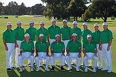 Members of the US Team pose for a team photo during a practice round prior to the start of the 2011 Presidents Cup at Royal Melbourne Golf Course on...