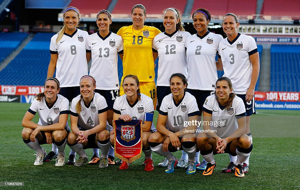 Members of the US Womens National team pose for a photo prior to the game against Korea Republic at Gillette Stadium on June 15, 2013 in Foxboro, Massachusetts.