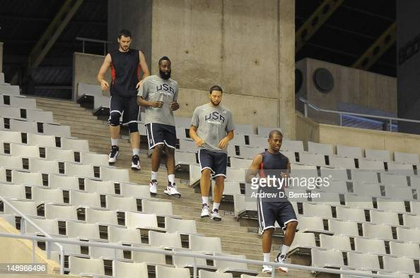 Members of the USA Basketball Men's National Team run down the steps at Palau Sant Jordi during practice on July 20 2012 in Barcelona Spain NOTE TO...