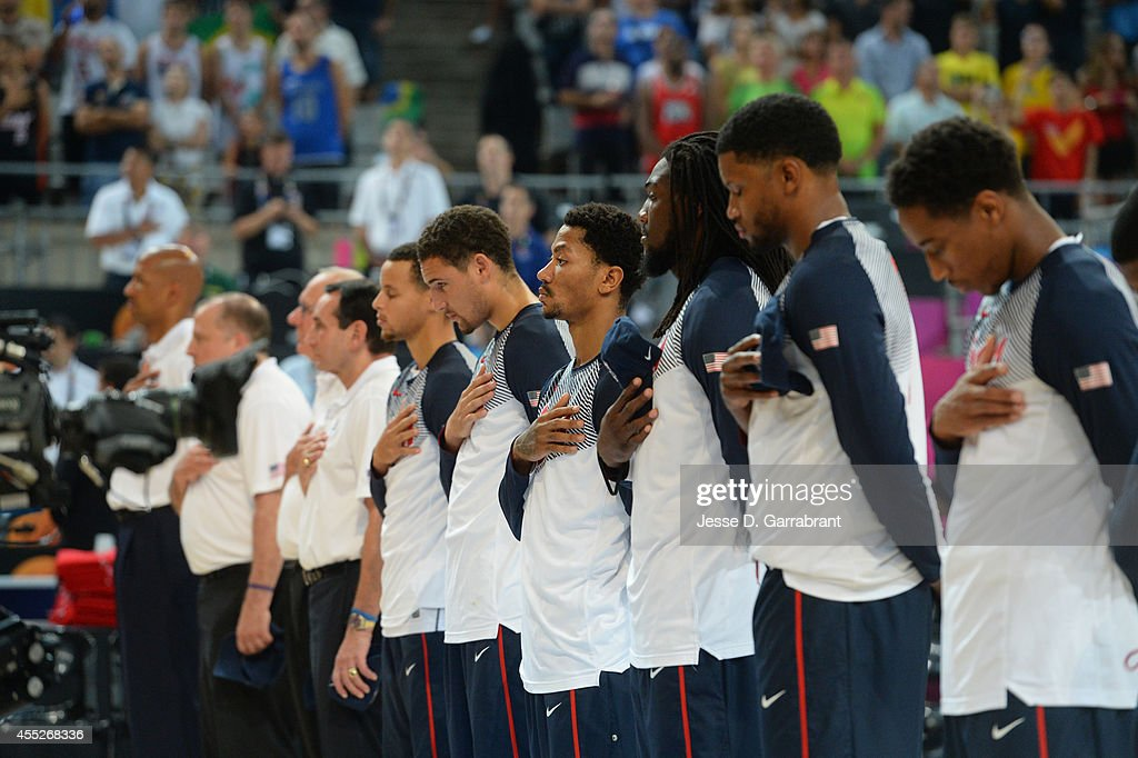 Members of the USA Basketball Men's National Team stands for the National Anthem against the Lithuania National Team during the 2014 FIBA World Cup...