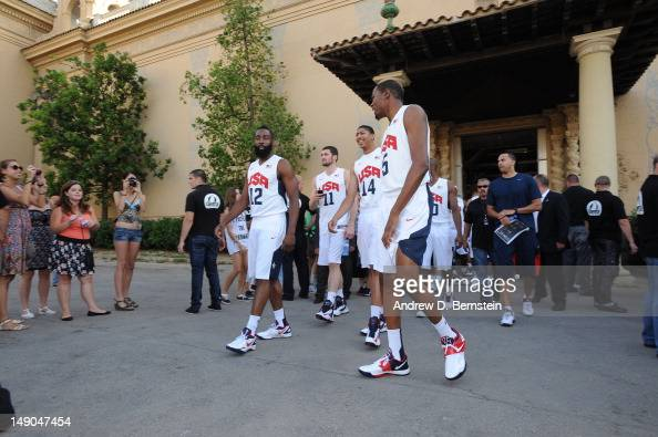 Members of the USA Basketball Men's National Team walk to a photo shoot on July 20 2012 in Barcelona Spain NOTE TO USER User expressly acknowledges...