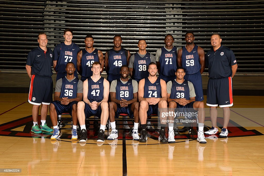 Members of the USA Basketball Men's Select Team pose for a team photo at Cox Pavilion at the University of Nevada, Las Vegas on July 30, 2014 in Las Vegas, Nevada.