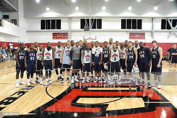 Members of the USA Men's National Team and the Select Team poses for a photo during training camp on July 11 2012 in Las Vegas Nevada NOTE TO USER...
