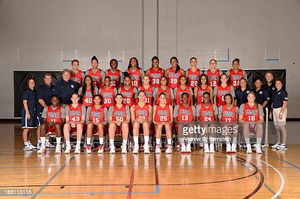 Members of the USA Women's National Team pose for a team photo during the USA Womens National Team MiniCamp on October 4 2013 at the Cox Pavilion in...