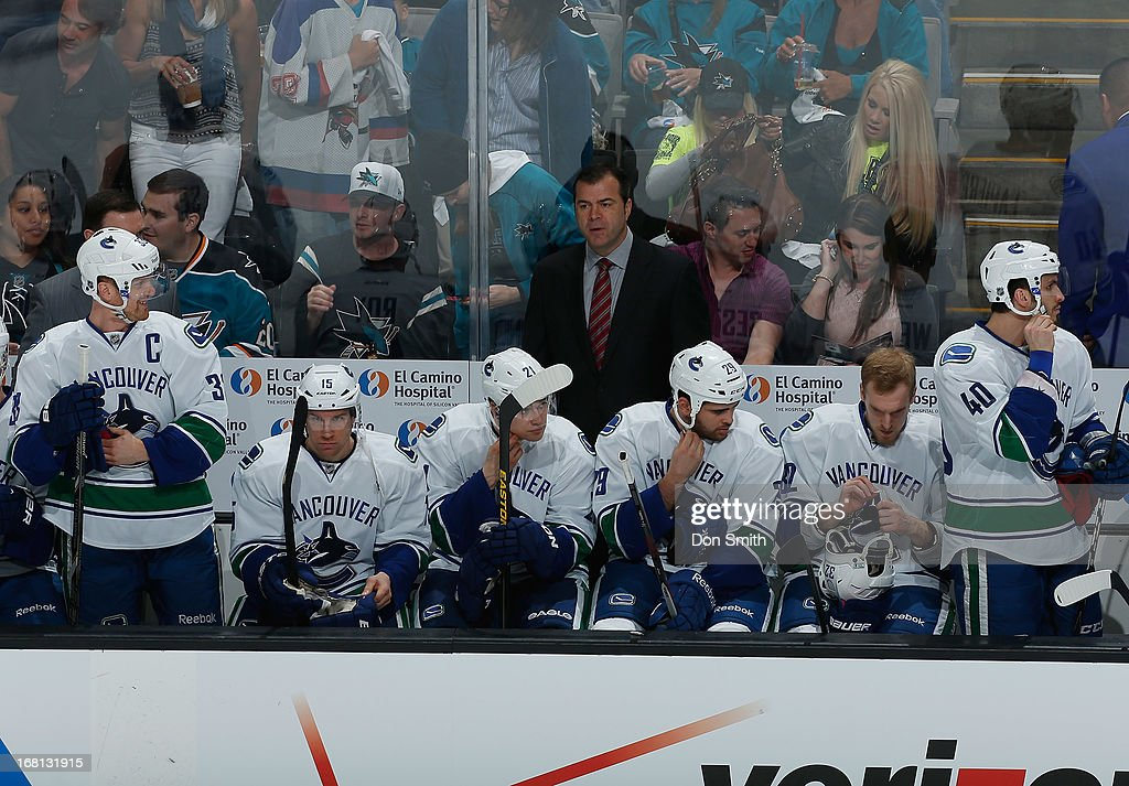 Members of the Vancouver Canucks sit on the bench during a game against the San Jose Sharks in Game One of the Western Conference Quarterfinals during the 2013 Stanley Cup Playoffs at HP Pavilion on May 5, 2013 in San Jose, California.