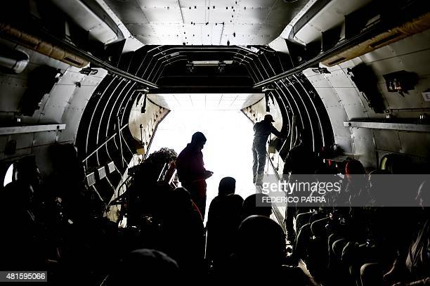 Members of the Venezuelan Army get ready to get off a plane before a military parade in Tumeremo Bolivar State in Venezuela about 90 km from the...