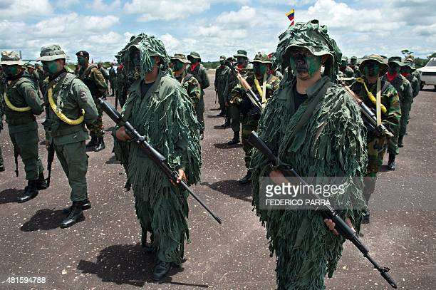 Members of the Venezuelan Army Special Forces take part in a military parade in Tumeremo Bolivar State in Venezuela about 90 km from the border with...