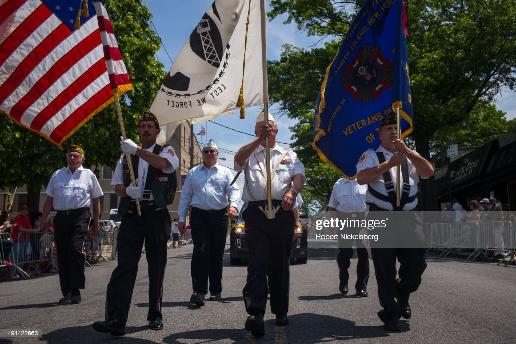 Members of the Veterans of Foreign Wars march May 26, 2014 during the 96th Staten Island Memorial Day parade in Staten Island, New York. Memorial Day was originally celebrated as Decoration Day after the Civil War in 1868. It became a federal holiday in 1971 and commemorates all those who have died fighting for the U.S. in wars.