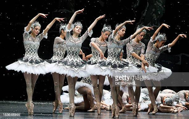 Members of the Vienna State Opera's ballet company perform during the dress rehearsal of the ballet 'Nutcracker' at the Wiener Staatsoper state opera...