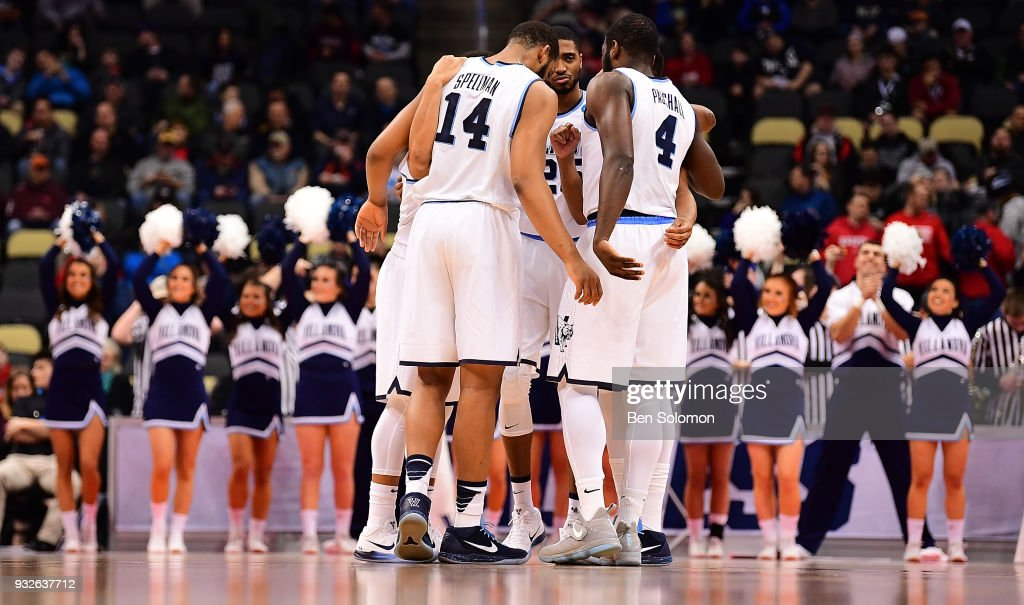 Members of the Villanova Wildcats huddle before the start of the game against the Radford Highlanders during the first round of the 2018 NCAA Men's Basketball Tournament held at PPG Paints Arena on March 15, 2018 in Pittsburgh, Pennsylvania.