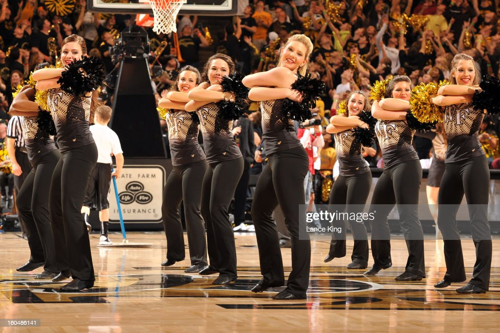 Members of the Wake Forest Demon Deacons dance team perform during a game against the Duke Blue Devils at Lawrence Joel Coliseum on January 30, 2013 in Winston-Salem, North Carolina. Duke defeated Wake Forest 75-70.