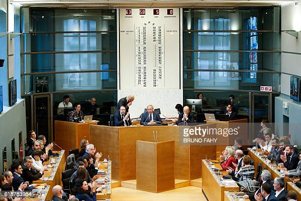 Members of the Wallon parliament attend a plenary session in Namur during a debate on the CETA on October 28 2016 Parliament in Belgium's Wallonia...