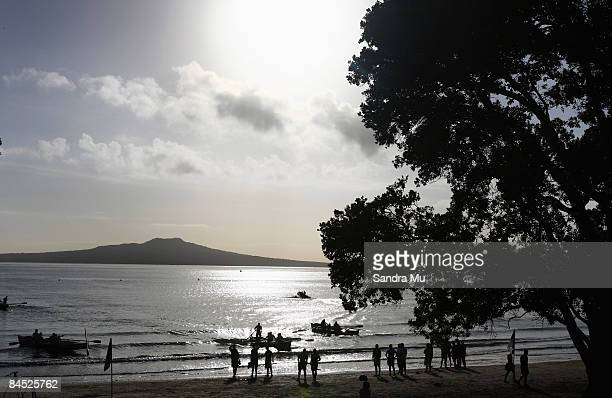 Members of the Warriors race in surf boats out towards Rangitoto Island during a Warriors NRL training session held at Takapuna Beach January 29 2009...