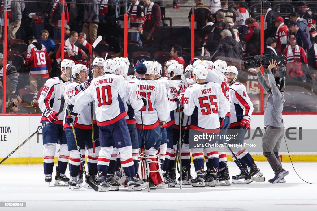 Members of the Washington Capitals celebrate their shootout win against the Ottawa Senators at Canadian Tire Centre on October 5, 2017 in Ottawa, Ontario, Canada.
