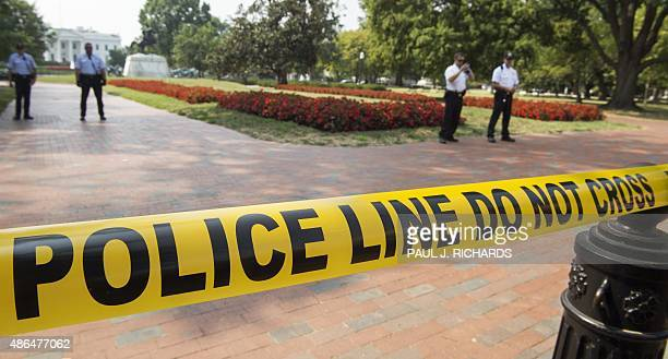Members of the Washington DC Metropolotian Police and the US Secret Service Uniformed Division secure Lafayette Square with police warning tape after...