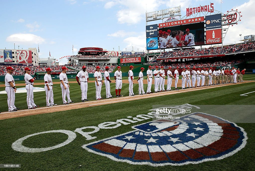 Members of the Washington Nationals line up during introductions before the Opening Day game against the Miami Marlins at Nationals Park on Monday, April 1, 2013 in Washington, DC.