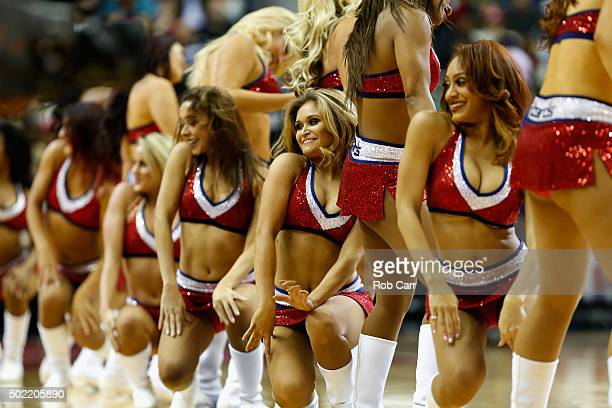 Members of the Washington Wizards girls perform during the first half of the Wizards and Sacramento Kings game at Verizon Center on December 21 2015...