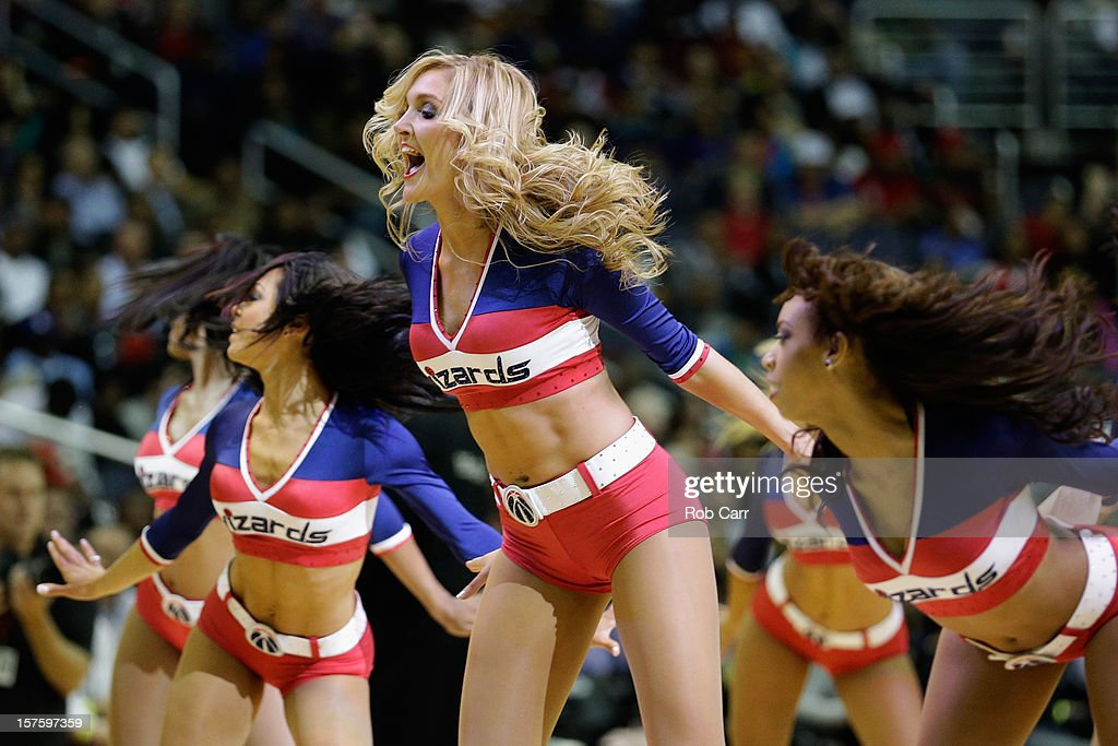 Members of the Washington Wizards Girls perform during the Wizards and Miami Heat game at Verizon Center on December 4, 2012 in Washington, DC.
