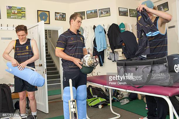 Members of the Wellington College senior cricket team prepare for a match in the Pavillion Wellington College is a British coeducational boarding and...