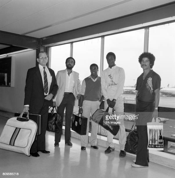 Members of the West Indies cricket team arriving at Heathrow airport ready for the start of the Prudential Cricket World Cup unknown Jeff Dujon Gus...