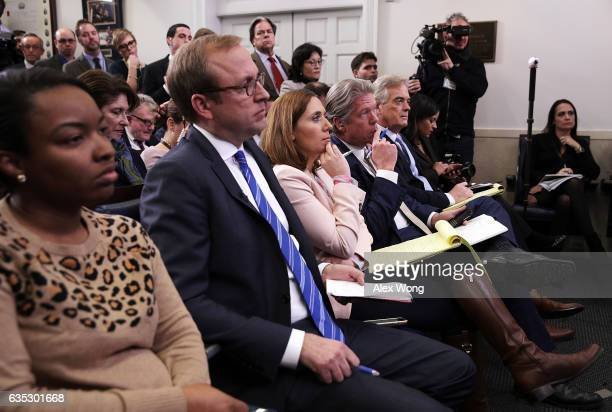 Members of the White House press corps listen during a daily press briefing at the James Brady Press Briefing Room February 14 2017 at the White...