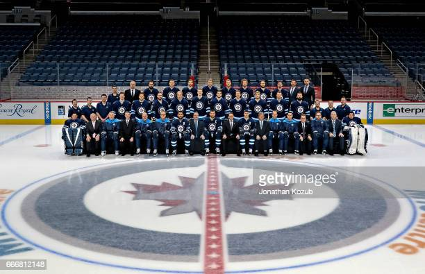 Members of the Winnipeg Jets pose for the official 20162017 team photograph on March 8 2017 at the MTS Centre in Winnipeg Manitoba Canada