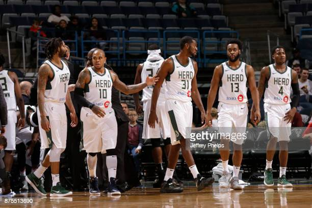 Members of the Wisconsin Herd against the Windy City Bulls during an NBA GLeague game on November 17 2017 at the Bradley Center in Milwaukee...