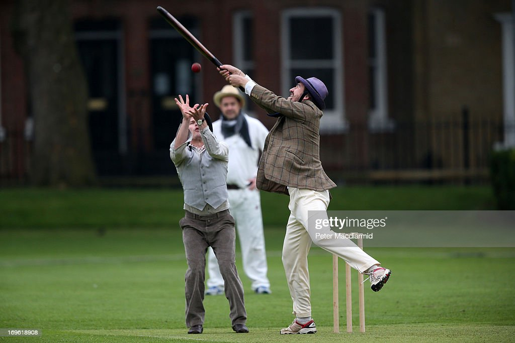 Members of the Wisden XI and the Authors XI take part in a Victorian cricket match at Vincent Square on May 29, 2013 in London, England. The match celebrates the 150th anniversary the Wisden Cricketers' Almanack. The almanack is a cricket reference book published annually in the United Kingdom.