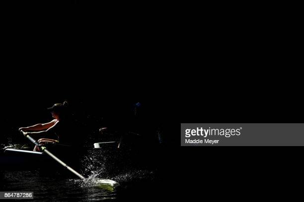 Members of the Women's Club Eights team from Canisius College compete during the Head of the Charles Regatta on October 21 2017 in Boston...
