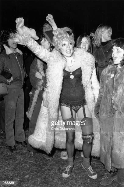 Members of the Women's Liberation Movement protesting against the Miss World Contest outside the Royal Albert Hall London