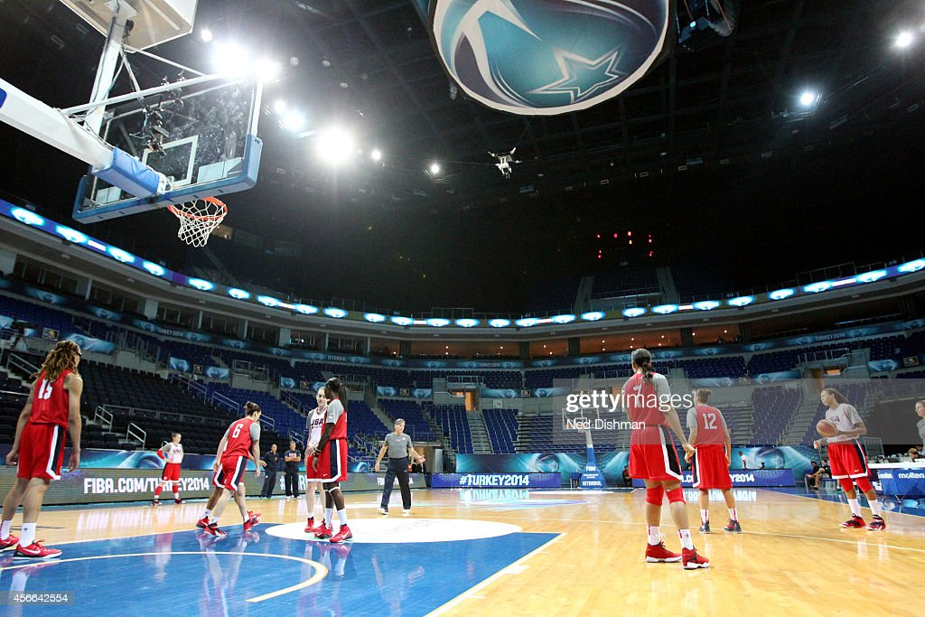 Members of the Women's Senior U.S. National Team go through drills during a team practice before the semifinals of the 2014 FIBA World Championships on October 4, 2014 in Istanbul, Turkey.