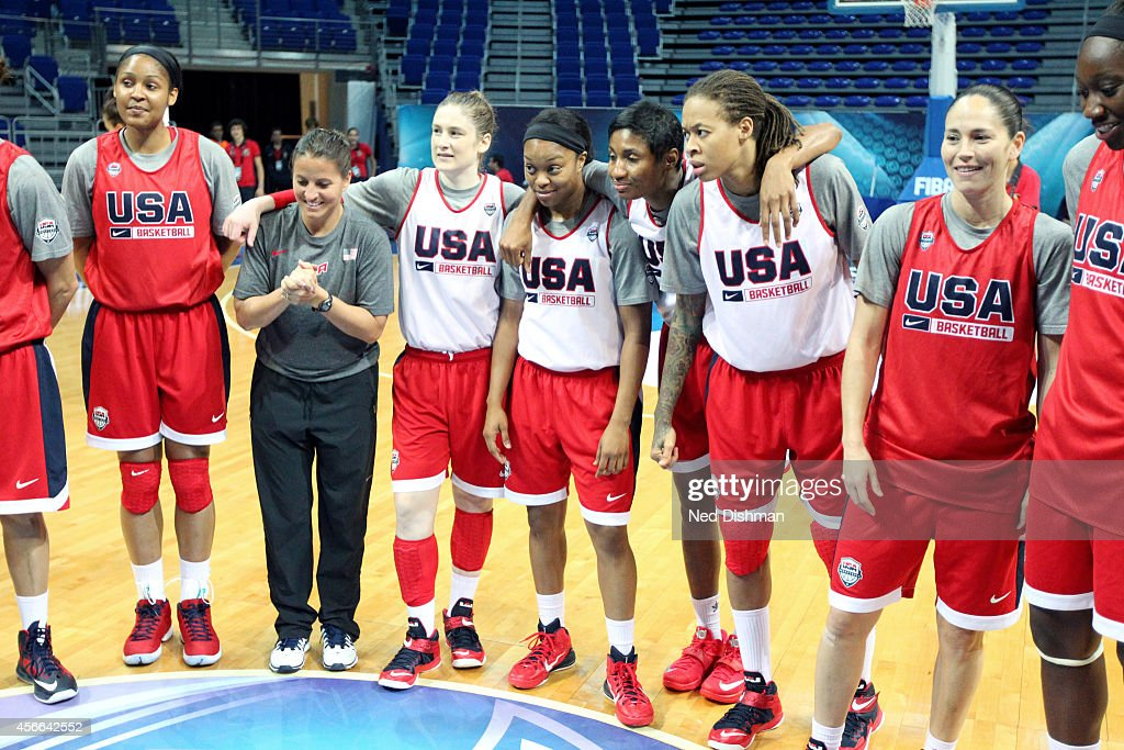 Members of the Women's Senior U.S. National Team listen during a huddle during a team practice before the semifinals of the 2014 FIBA World Championships on October 4, 2014 in Istanbul, Turkey.