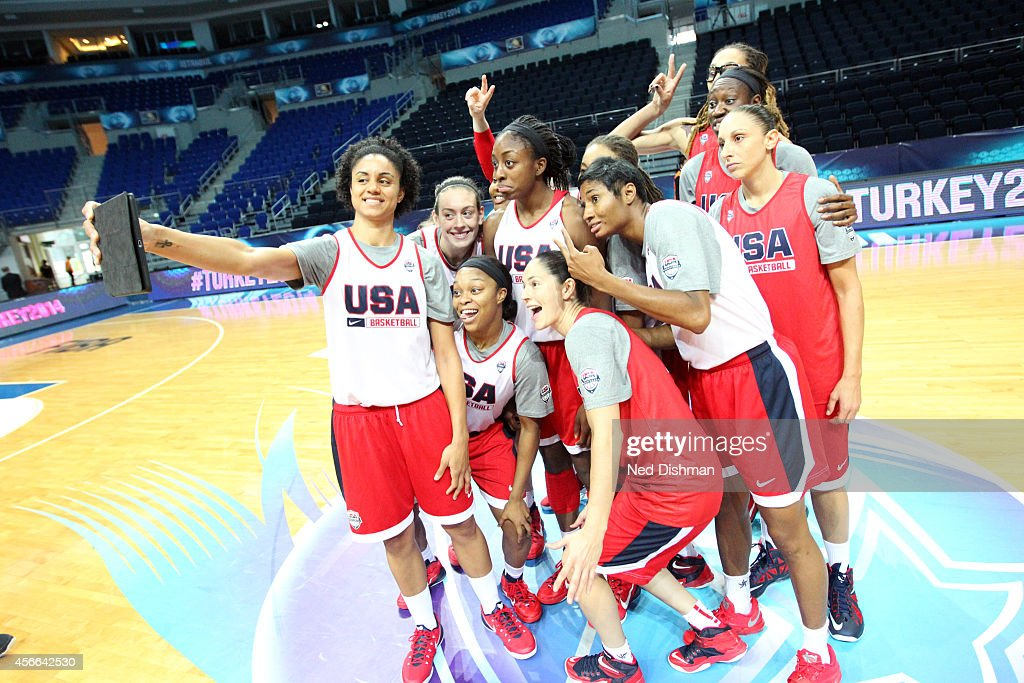 Members of the Women's Senior U.S. National Team take a selfie for FIBA after a team practice before the semifinals of the 2014 FIBA World Championships on October 4, 2014 in Istanbul, Turkey.