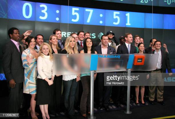 Members of 'The Wreckers' and 'Gym Class Heroes' with the NASDAQ and Reuters employees