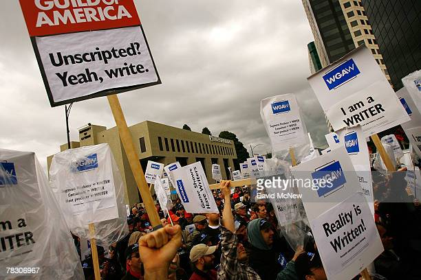 Members of the Writers Guild of America rally outside FremantleMedia North America to call attention to conditions for writers working on game shows...