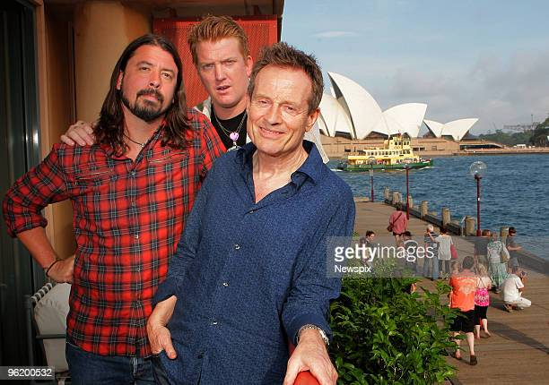 Members of Them Crooked Vultures Dave Grohl Josh Homme and John Paul Jones pose on January 26 2010 in Sydney Australia